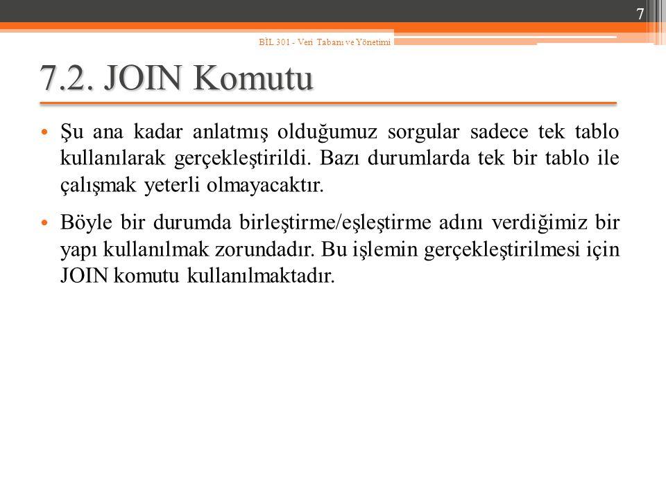 7 BİL 301 - Veri Tabanı ve Yönetimi. 7.2. JOIN Komutu.