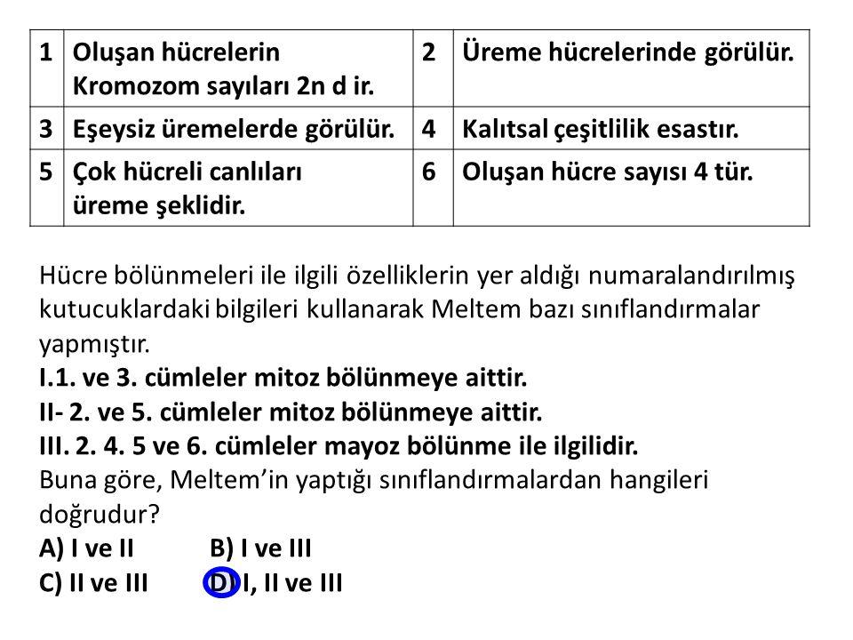 1 Oluşan hücrelerin Kromozom sayıları 2n d ir. 2. Üreme hücrelerinde görülür. 3. Eşeysiz üremelerde görülür.