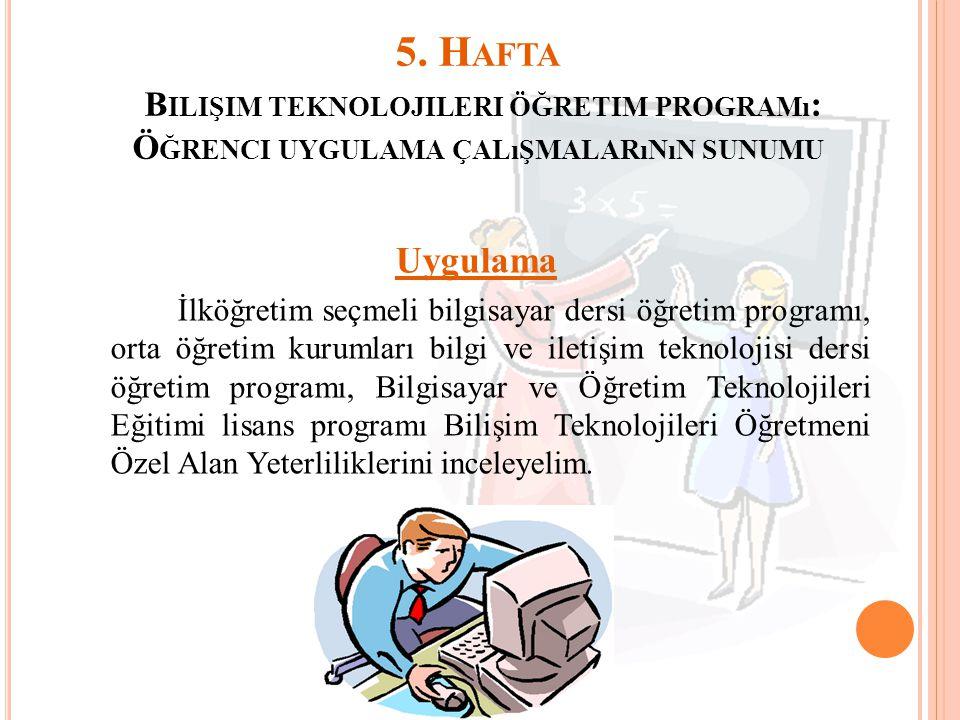 5. Hafta Bilişim teknolojileri öğretim programı: