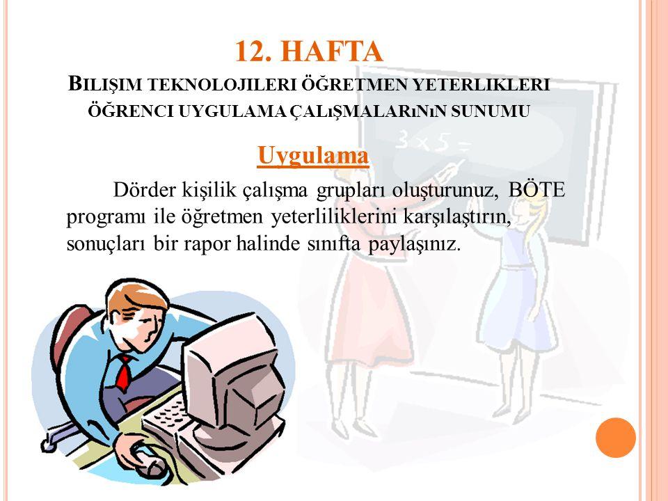 12. HAFTA Bilişim teknolojileri öğretmen yeterlikleri öğrenci uygulama çalışmalarının sunumu