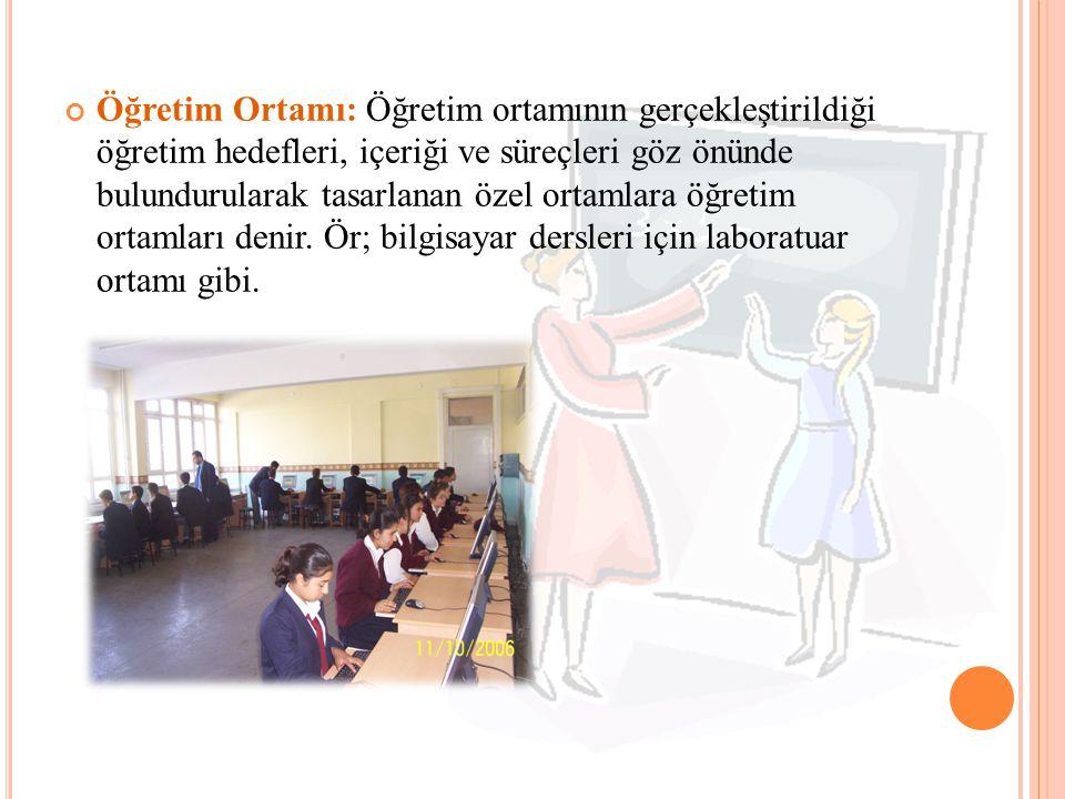 Öğretim Ortamı: Öğretim ortamının gerçekleştirildiği öğretim hedefleri, içeriği ve süreçleri göz önünde bulundurularak tasarlanan özel ortamlara öğretim ortamları denir.
