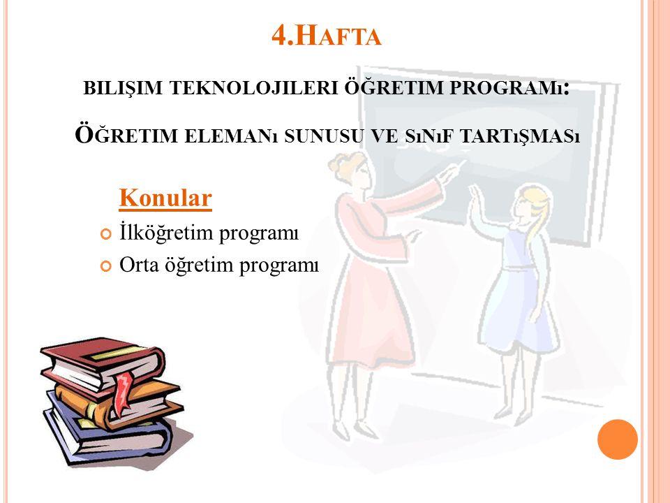4.Hafta Konular bilişim teknolojileri öğretim programı: