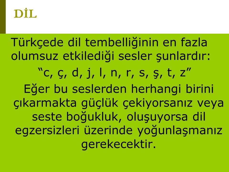 DİL Türkçede dil tembelliğinin en fazla olumsuz etkilediği sesler şunlardır: c, ç, d, j, l, n, r, s, ş, t, z