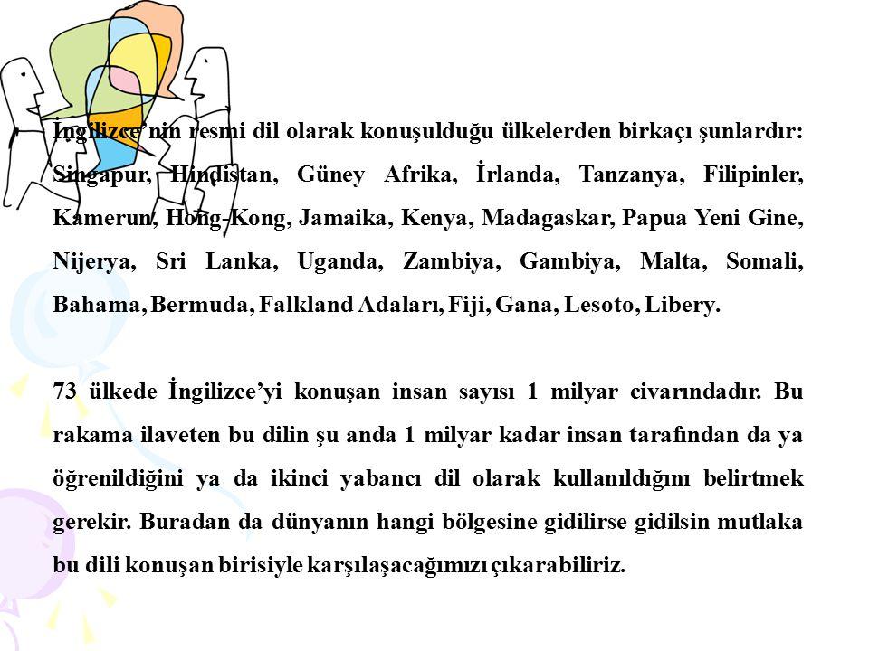 İngilizce'nin resmi dil olarak konuşulduğu ülkelerden birkaçı şunlardır: Singapur, Hindistan, Güney Afrika, İrlanda, Tanzanya, Filipinler, Kamerun, Hong-Kong, Jamaika, Kenya, Madagaskar, Papua Yeni Gine, Nijerya, Sri Lanka, Uganda, Zambiya, Gambiya, Malta, Somali, Bahama, Bermuda, Falkland Adaları, Fiji, Gana, Lesoto, Libery.