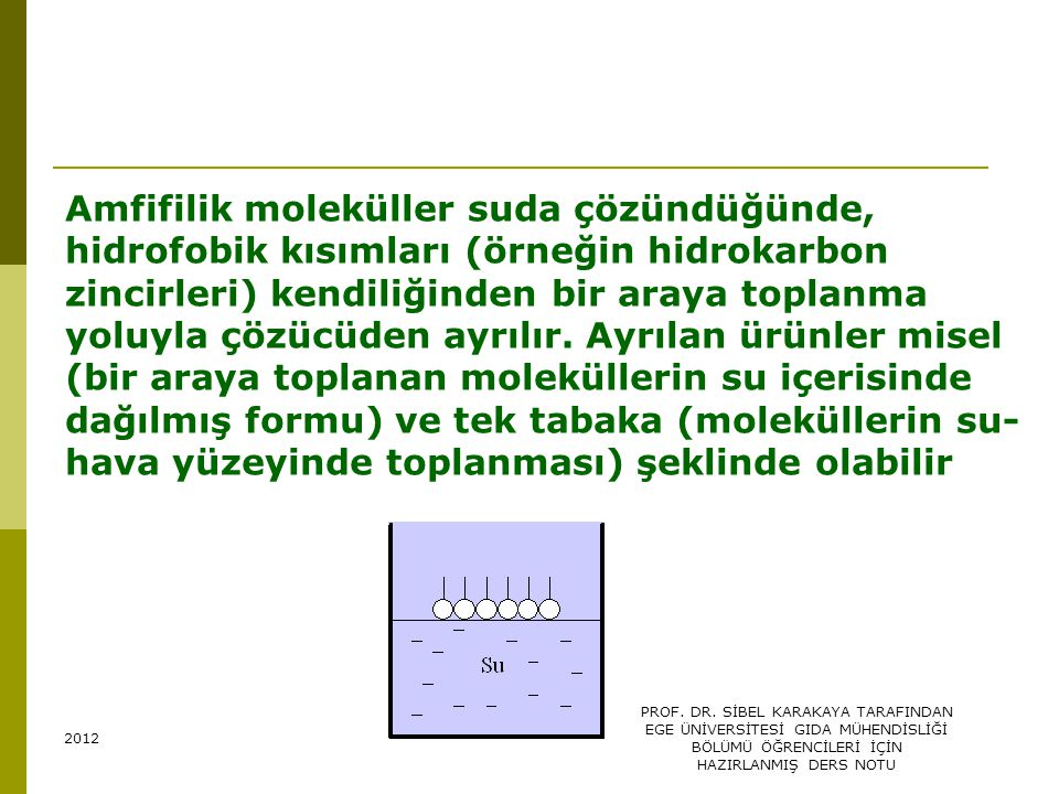 Amfifilik moleküller suda çözündüğünde, hidrofobik kısımları (örneğin hidrokarbon zincirleri) kendiliğinden bir araya toplanma yoluyla çözücüden ayrılır. Ayrılan ürünler misel (bir araya toplanan moleküllerin su içerisinde dağılmış formu) ve tek tabaka (moleküllerin su-hava yüzeyinde toplanması) şeklinde olabilir