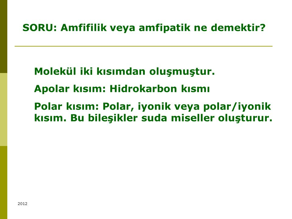SORU: Amfifilik veya amfipatik ne demektir