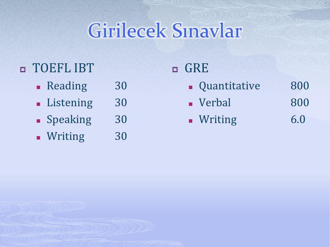 Girilecek Sınavlar TOEFL IBT GRE Reading 30 Listening 30 Speaking 30