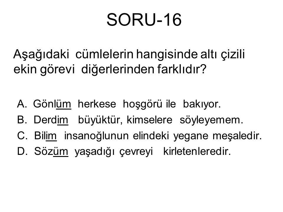 SORU-16 Aşağıdaki cümlelerin hangisinde altı çizili ekin görevi diğerlerinden farklıdır Gönlüm herkese hoşgörü ile bakıyor.