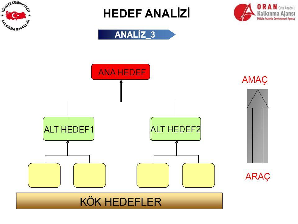 HEDEF ANALİZİ K Ö K HEDEFLER AMAÇ ARAÇ ANALİZ_3 ANA HEDEF ALT HEDEF1