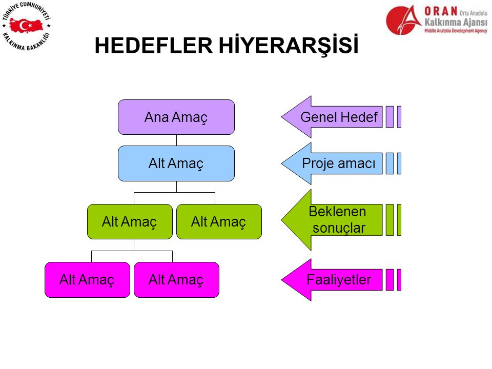 HEDEFLER HİYERARŞİSİ Genel Hedef Ana Amaç Proje amacı Alt Amaç