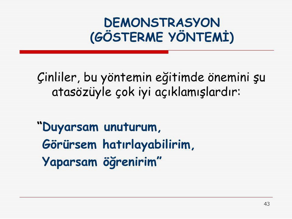 DEMONSTRASYON (GÖSTERME YÖNTEMİ)