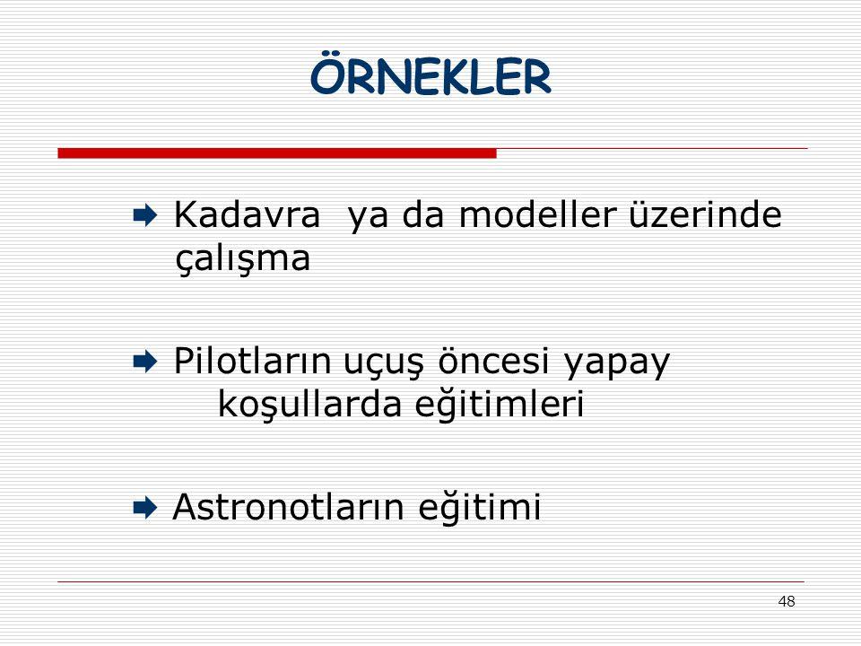 ÖRNEKLER  Kadavra ya da modeller üzerinde çalışma