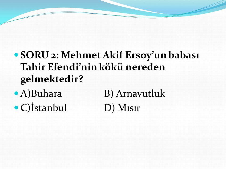 SORU 2: Mehmet Akif Ersoy'un babası Tahir Efendi'nin kökü nereden gelmektedir