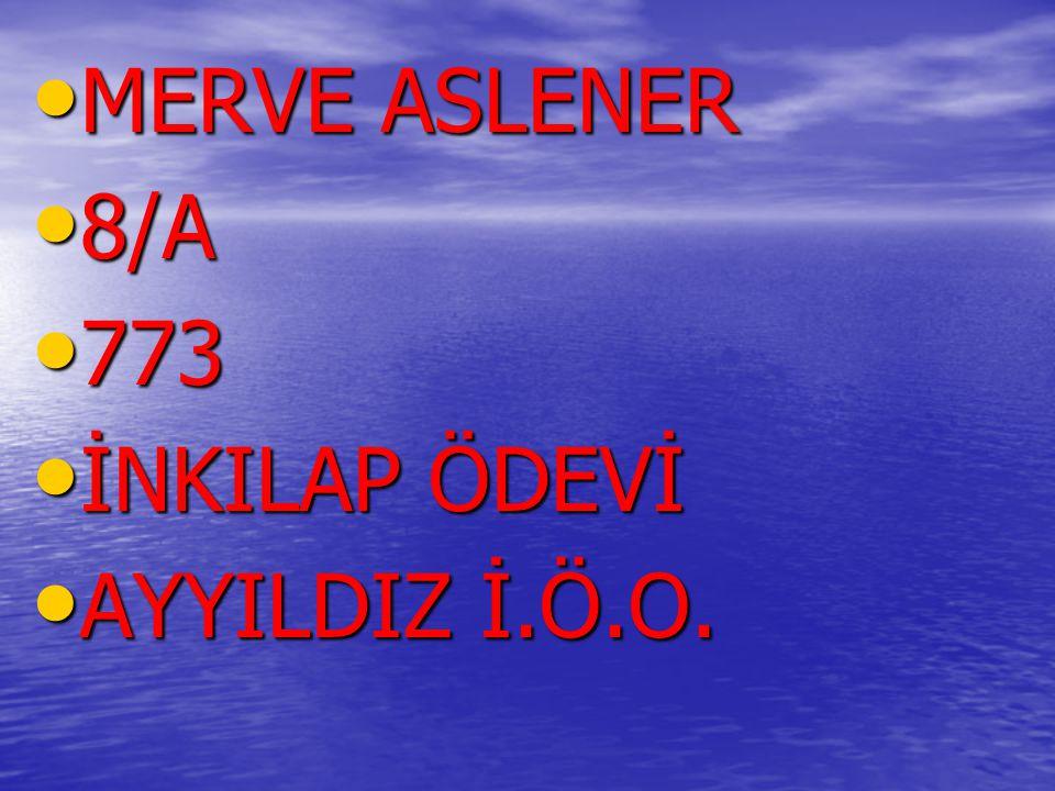 MERVE ASLENER 8/A 773 İNKILAP ÖDEVİ AYYILDIZ İ.Ö.O.