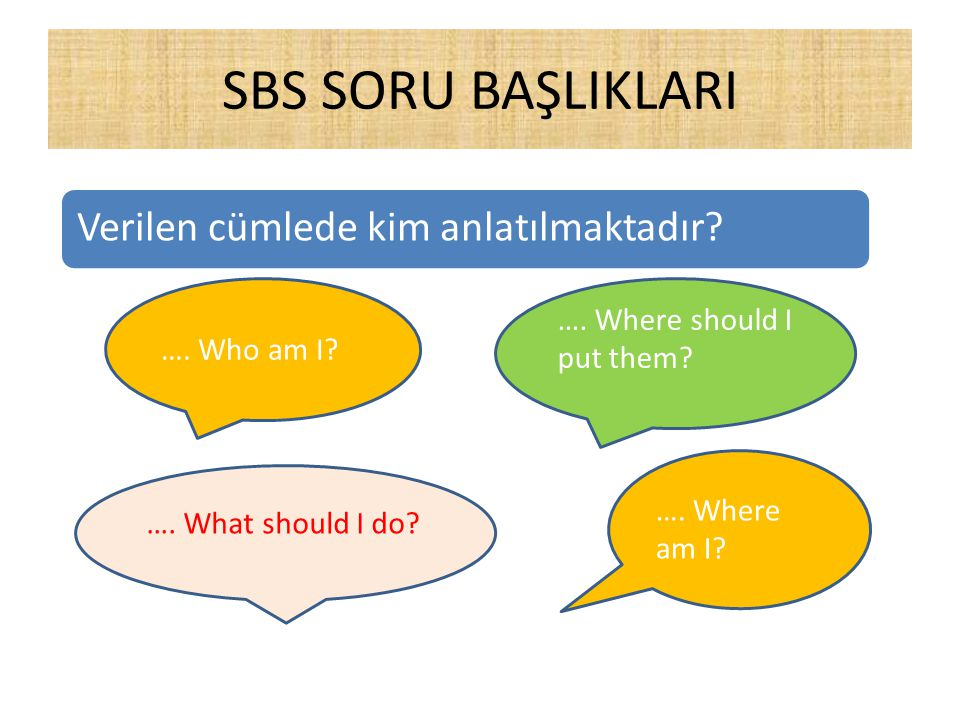 SBS SORU BAŞLIKLARI …. Where should I put them …. Who am I