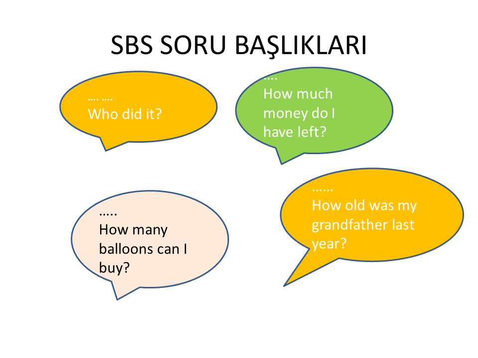 SBS SORU BAŞLIKLARI …. How much money do I have left Who did it ……