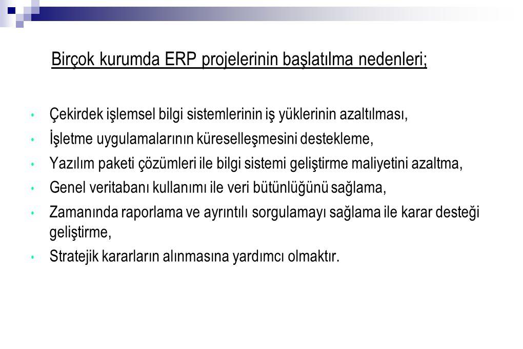 Birçok kurumda ERP projelerinin başlatılma nedenleri;