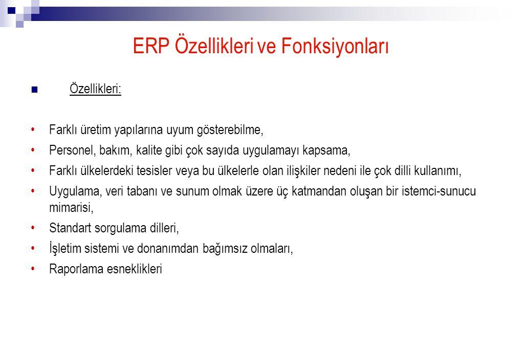 ERP Özellikleri ve Fonksiyonları