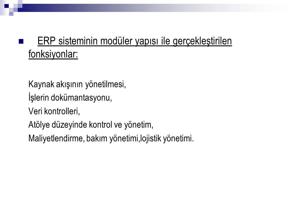ERP sisteminin modüler yapısı ile gerçekleştirilen fonksiyonlar: