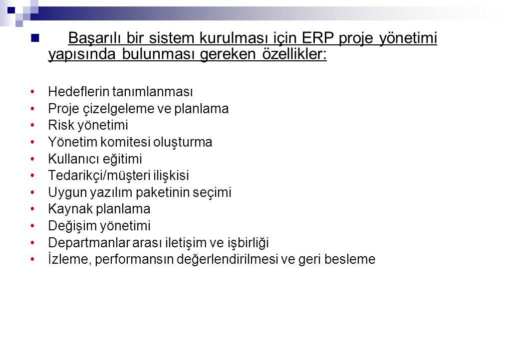 Başarılı bir sistem kurulması için ERP proje yönetimi yapısında bulunması gereken özellikler: