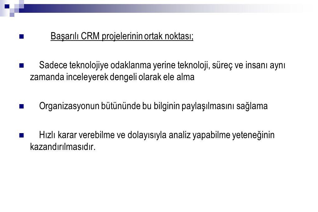 Başarılı CRM projelerinin ortak noktası;