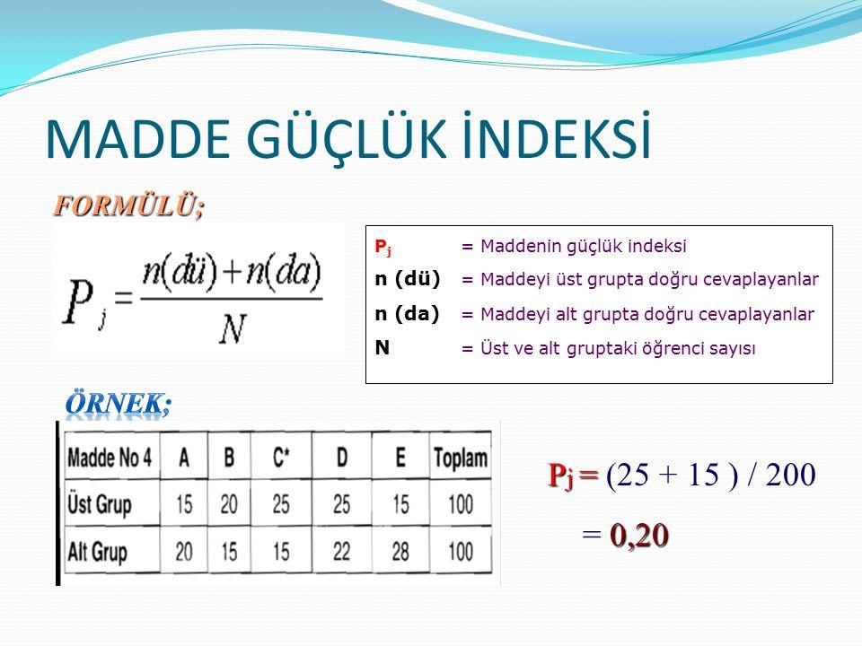 MADDE GÜÇLÜK İNDEKSİ Pj = (25 + 15 ) / 200 = 0,20 FORMÜLÜ; ÖRNEK;