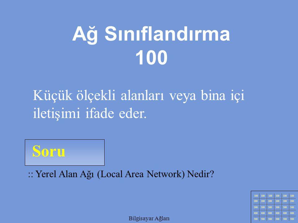 Ağ Sınıflandırma 100 Küçük ölçekli alanları veya bina içi iletişimi ifade eder. Soru. :: Yerel Alan Ağı (Local Area Network) Nedir