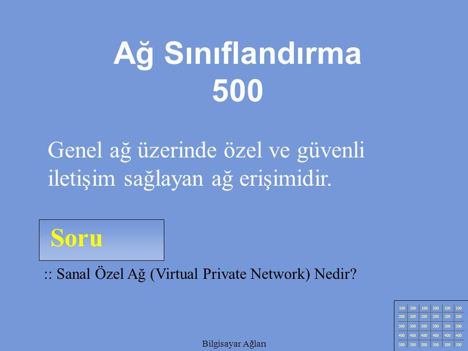 Ağ Sınıflandırma 500 Genel ağ üzerinde özel ve güvenli iletişim sağlayan ağ erişimidir. Soru. :: Sanal Özel Ağ (Virtual Private Network) Nedir