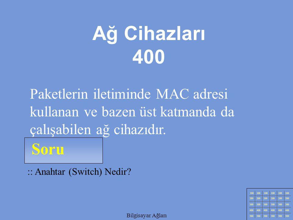 Ağ Cihazları 400 Paketlerin iletiminde MAC adresi kullanan ve bazen üst katmanda da çalışabilen ağ cihazıdır.