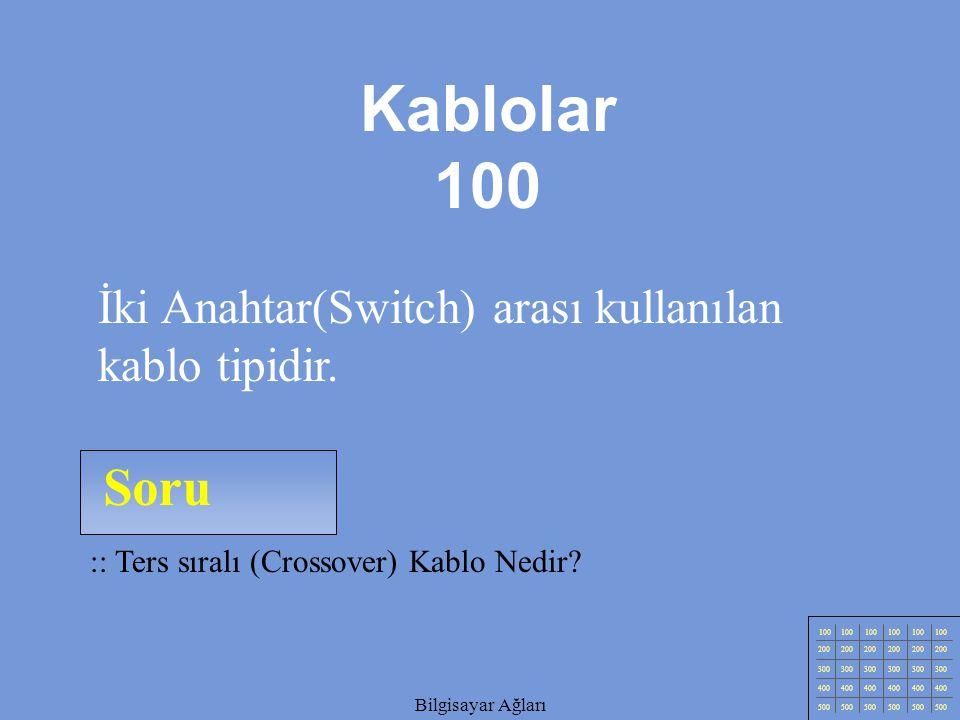 Kablolar 100 Soru İki Anahtar(Switch) arası kullanılan kablo tipidir.