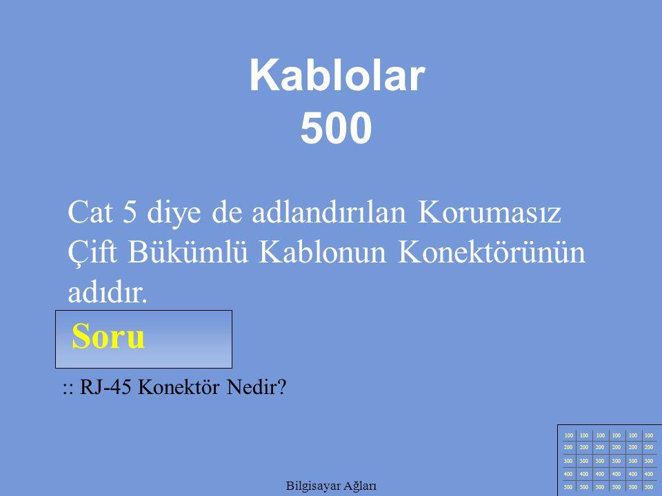 Kablolar 500 Cat 5 diye de adlandırılan Korumasız Çift Bükümlü Kablonun Konektörünün adıdır. Soru.