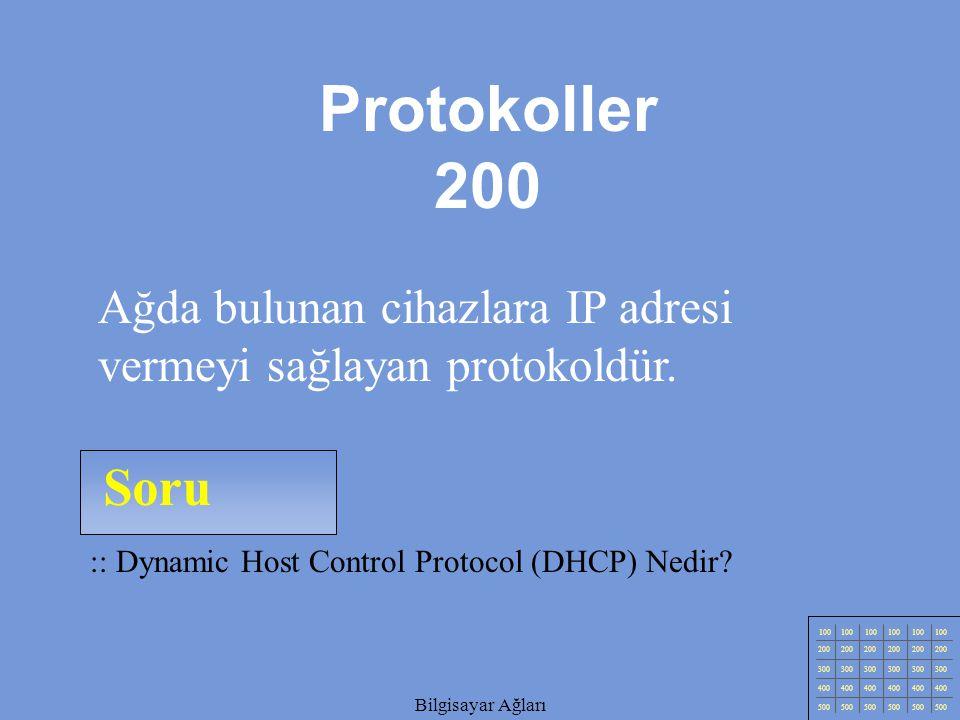 Protokoller 200 Ağda bulunan cihazlara IP adresi vermeyi sağlayan protokoldür. Soru. :: Dynamic Host Control Protocol (DHCP) Nedir