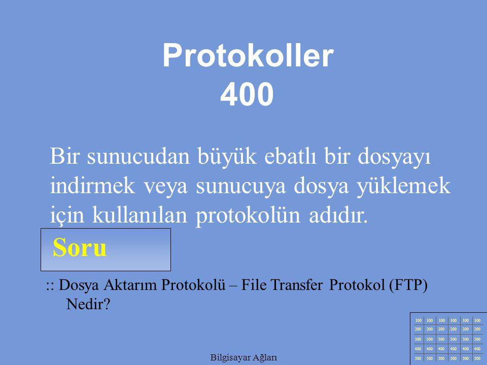 Protokoller 400 Bir sunucudan büyük ebatlı bir dosyayı indirmek veya sunucuya dosya yüklemek için kullanılan protokolün adıdır.