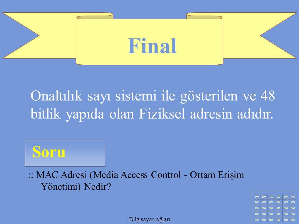 Final Onaltılık sayı sistemi ile gösterilen ve 48 bitlik yapıda olan Fiziksel adresin adıdır. Soru.