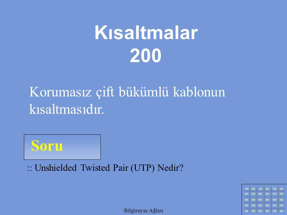 Kısaltmalar 200 Soru Korumasız çift bükümlü kablonun kısaltmasıdır.