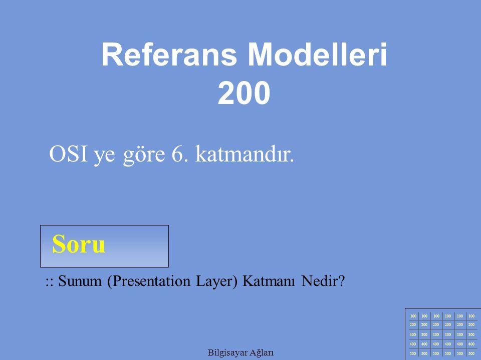 Referans Modelleri 200 Soru OSI ye göre 6. katmandır.