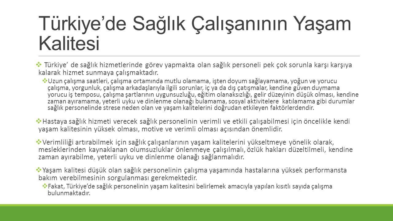 Türkiye'de Sağlık Çalışanının Yaşam Kalitesi