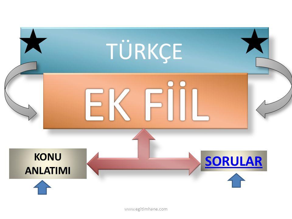 TÜRKÇE EK FİİL KONU ANLATIMI SORULAR www.egitimhane.com