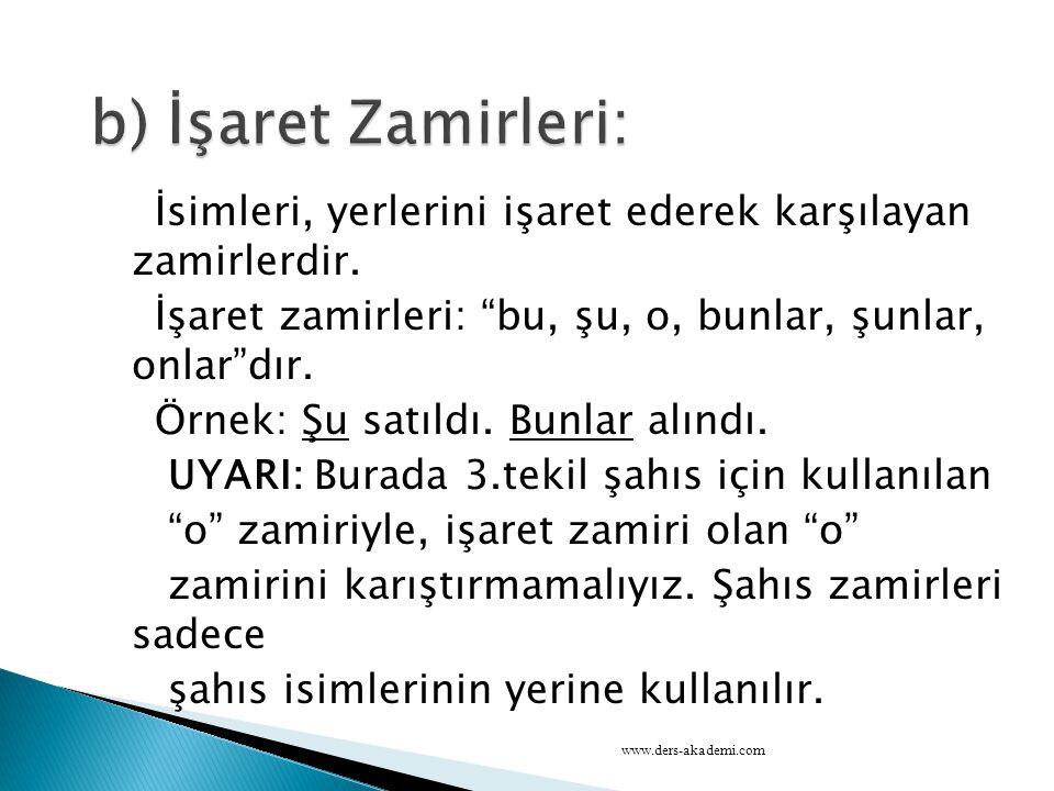 b) İşaret Zamirleri: