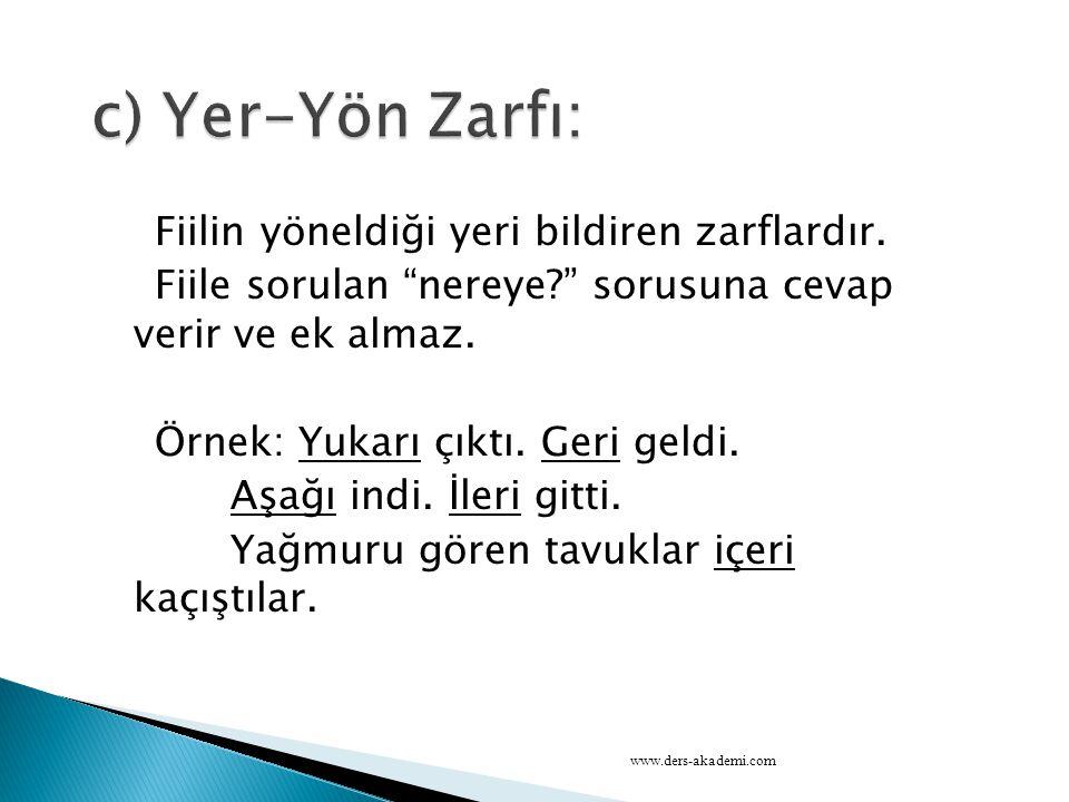 c) Yer-Yön Zarfı: