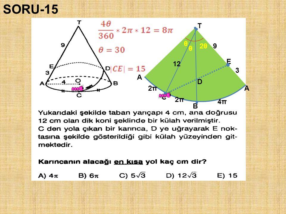 SORU-15 T θ 2θ 9 θ E 12 3 A D 2π A C 2π 4π B