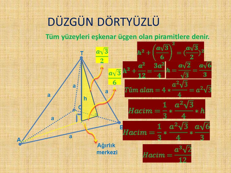 DÜZGÜN DÖRTYÜZLÜ Tüm yüzeyleri eşkenar üçgen olan piramitlere denir. T