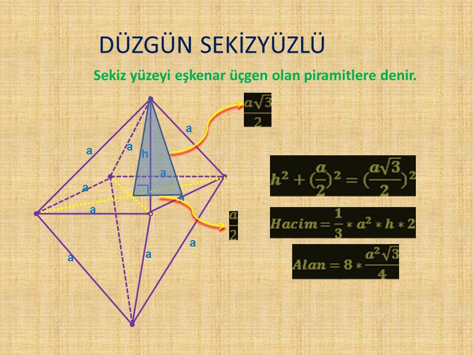 DÜZGÜN SEKİZYÜZLÜ Sekiz yüzeyi eşkenar üçgen olan piramitlere denir. a