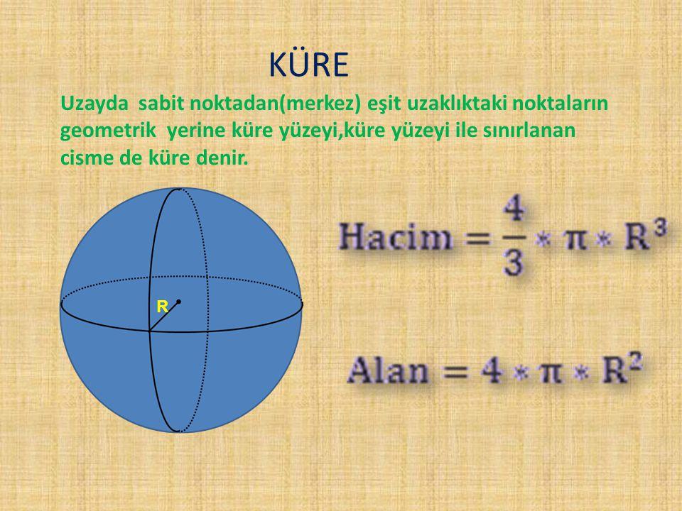KÜRE Uzayda sabit noktadan(merkez) eşit uzaklıktaki noktaların