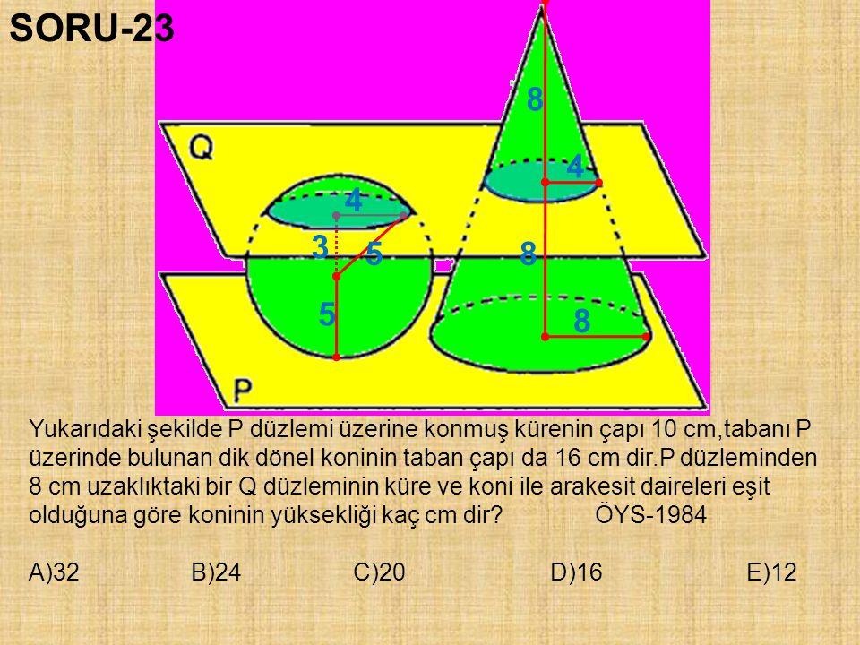 SORU-23 8. 4. 4. 3. 5. 8. 5. 8. Yukarıdaki şekilde P düzlemi üzerine konmuş kürenin çapı 10 cm,tabanı P.