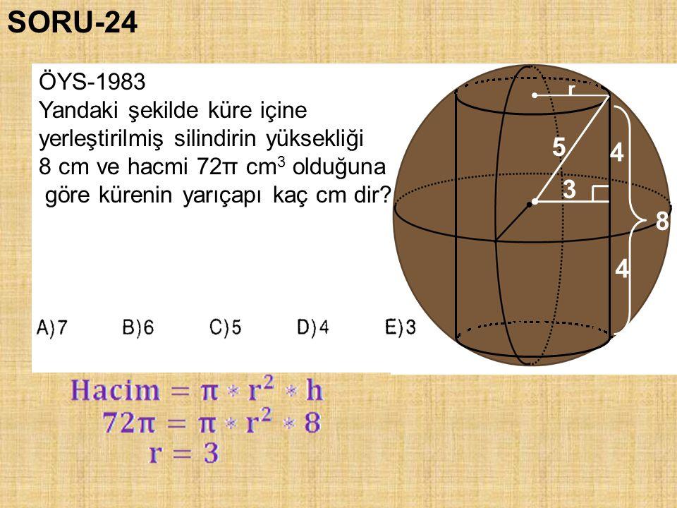 SORU-24 5 4 3 8 4 ÖYS-1983 Yandaki şekilde küre içine
