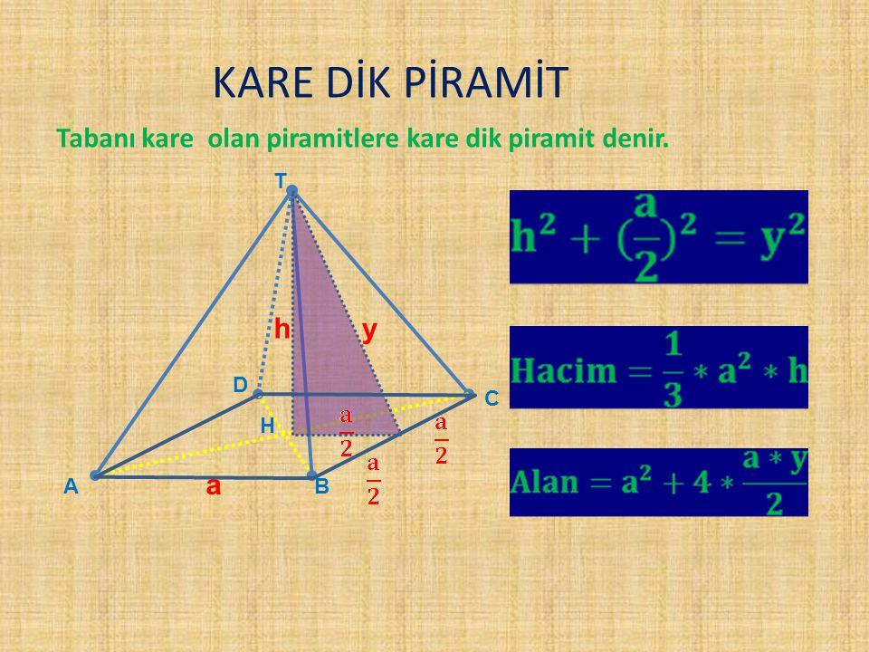 KARE DİK PİRAMİT Tabanı kare olan piramitlere kare dik piramit denir.