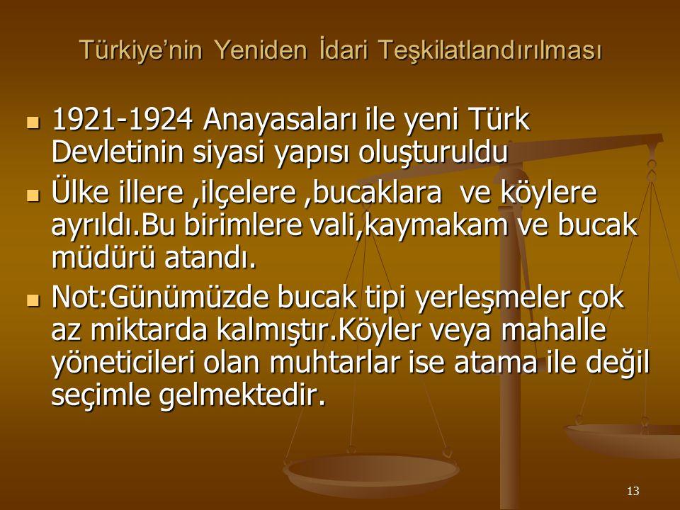 Türkiye'nin Yeniden İdari Teşkilatlandırılması