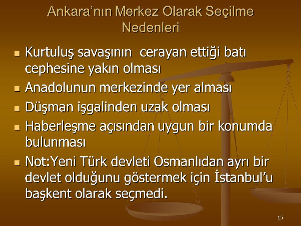 Ankara'nın Merkez Olarak Seçilme Nedenleri