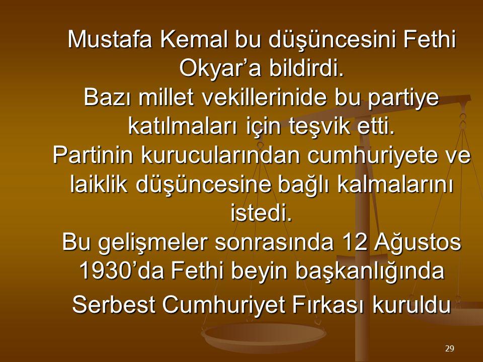 Mustafa Kemal bu düşüncesini Fethi Okyar'a bildirdi